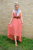 filigree print scarf - dress - tan braided wedges - chunky beaded bracelet
