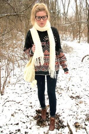 boots - vintage sweater - cream knit scarf - black Forever 21 glasses - denim pa