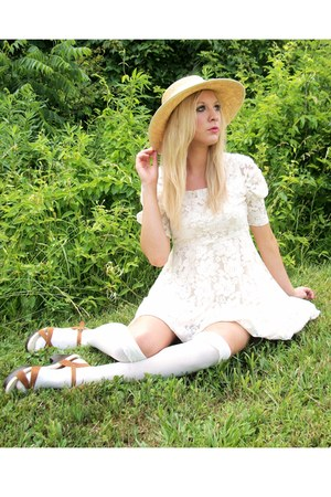 lace dress - thrifted hat - over the knee stockings - heels