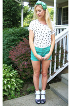 mint green shorts - white ruffle socks - black stappy wedges - accessories - bir