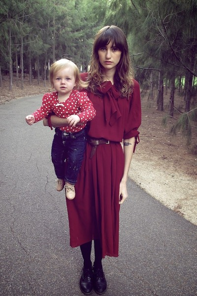 maroon thrifted vintage dress - brown thrifted belt