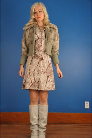 brown vintage coat - brown vintage Diane von Furstenberg dress - white Mia boots