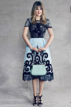 black top - light blue dress - light blue bag - black sandals