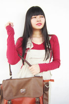 burnt orange leather Elisabeth bag - ivory l jeans Jvim jumper