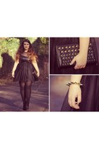 black asos dress - black next bag - bronze Ebay bracelet