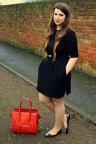 black vivienne westwood shoes - black warehouse dress - red Ebay bag