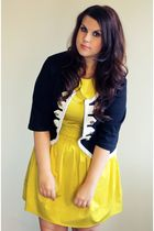 yellow Primark dress - black Dunnes cardigan