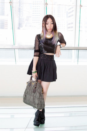 black Twisted Sisters top - black Jeffrey Campbell boots - olive green Prada bag