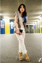 white mesh H&M top - mustard Jeffrey Campbell boots - white Topshop jeans