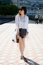 Navy-zara-shorts-dark-brown-john-hardy-bracelet-white-stylestalker-top