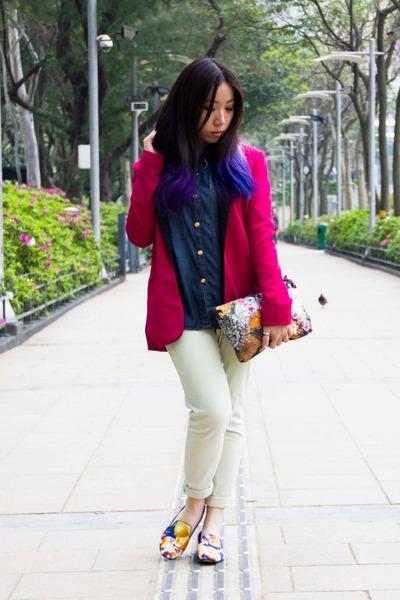 hot pink Zara blazer - light yellow Forever21 jeans
