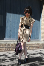 beige KITTERICK dress - studded DIY boots - purple balenciaga bag
