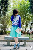 blue printed We-ar-ablecom sweater - sky blue denim shirt Topshop shirt