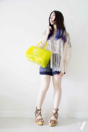 light yellow candy bag Furla bag - navy Zara shorts
