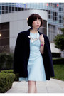 Sky-blue-sachin-babi-dress-navy-boyfriends-coat-black-suede-zara-heels