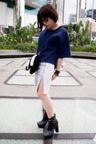 H&M Trend skirt - Jeffrey Campbell boots - Salvatore Ferragamo sunglasses