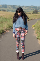 floral print asos jeans - American Apparel sweater