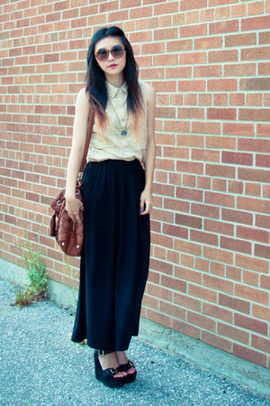 beige asos shirt - brown Primark necklace - black Vero Moda skirt