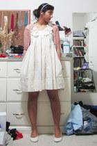 white white wedge Spring flats - ivory white floral H&M dress