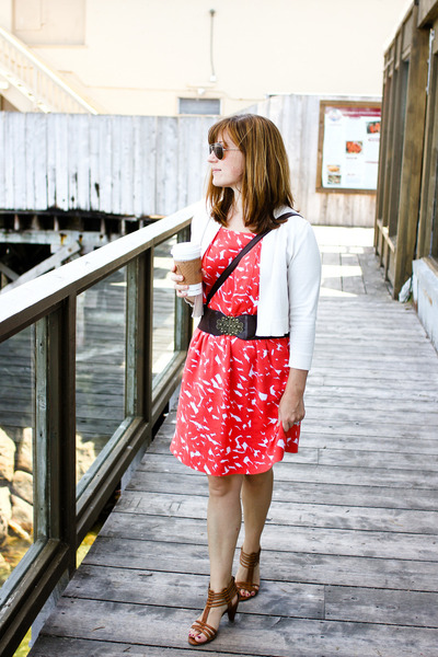 dress - purse - sunglasses - sandals - cardigan - belt