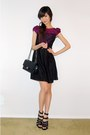 Magenta-lace-dress-black-strappy-shoes-black-medium-flap-bag-black-skinny-