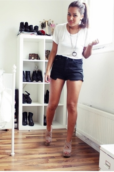beige wedges shoes - white Monki shirt - black vintage shorts