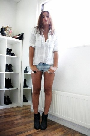 black Sixty Seven boots - white Bershka shirt - light blue H&M shorts
