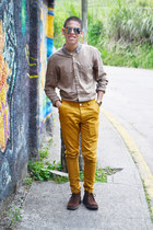 dark brown Hugo Boss boots - light brown Topman shirt - gold casio watch