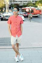 cream Bershka shorts - salmon Bershka shirt - aquamarine asos sunglasses