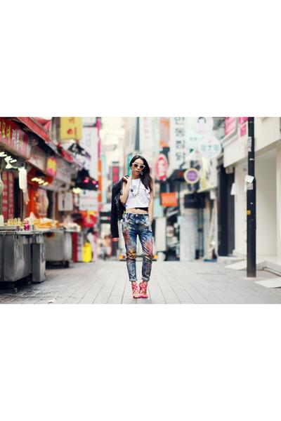 Zara blouse - Chevignon jeans - Jimmy Choo pumps
