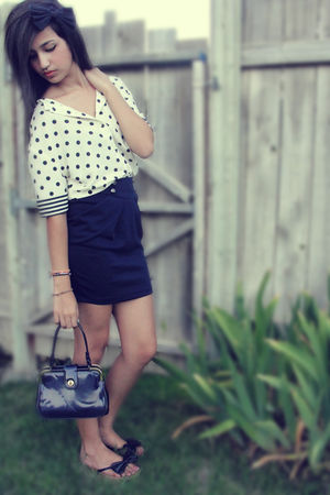 blue papaya skirt - blue Steve Madden shoes - blue purse