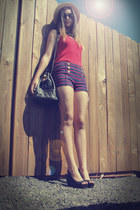 black Chanel bag - navy Forver21 shorts - red top - black wedges