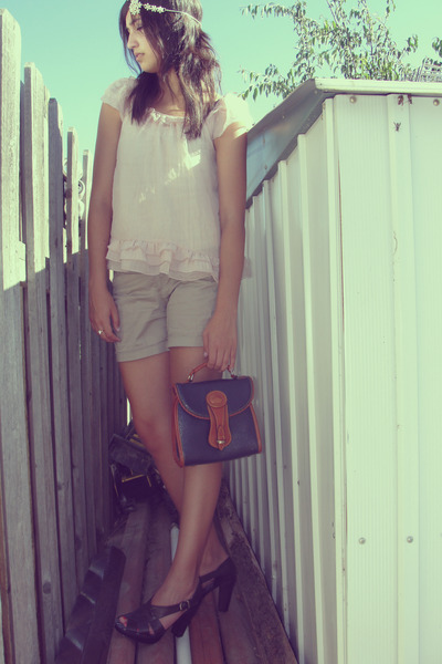 pink Target blouse - beige unknown brand shorts - brown Report shoes - blue Doon