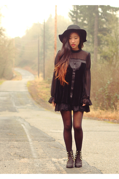 black To Be Announced boots - black crossroads dress