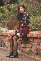 navy vintage blouse - black vintage boots - crimson H&M sweater