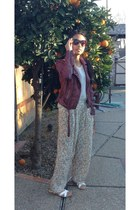 brick red Forever 21 jacket - cat eye sunglasses - palazzo pants pants