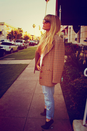 tan plaid vintage blazer