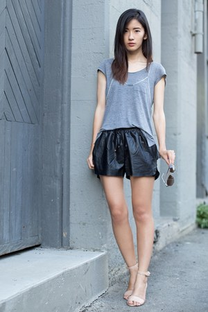 silver H&M top - black Line & Dot shorts - nude Nine West sandals