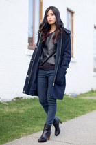 navy Zara coat - black Nine West boots - black Zara top - navy Zara pants