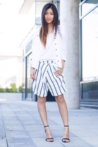 white H&M t-shirt - white free people shirt - white Zara shorts