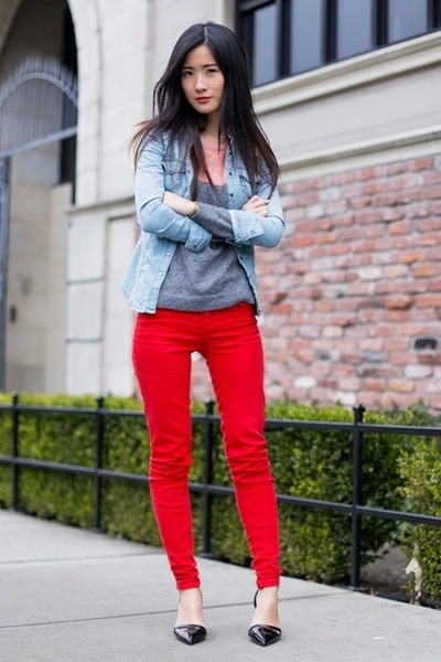 red Zara pants - silver Forever 21 sweater - light blue Guess shirt
