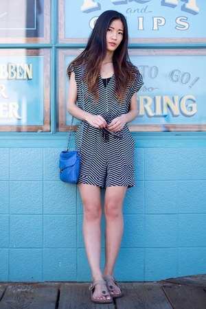 black Mango romper - blue botkier bag - light brown Birkenstock sandals