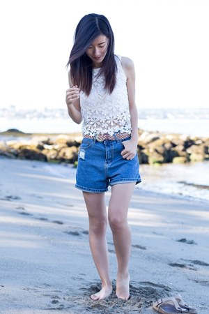 blue Lookbook Store shorts - white Lookbook Store top