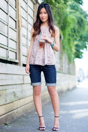 deep purple Zara top - navy Paige shorts - black Zara heels