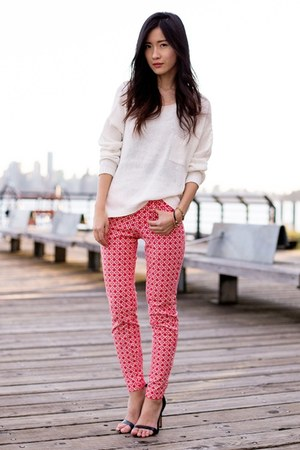 white H&M sweater - red Old Navy pants - black Zara sandals