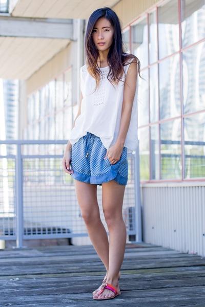 white Forever 21 top - sky blue Forever 21 shorts