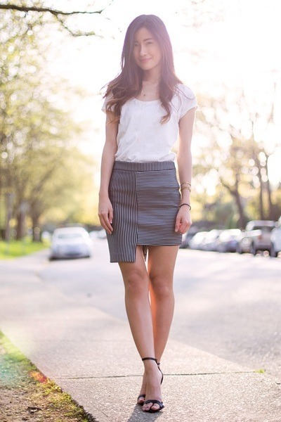 white H&M top - black asos skirt - black Zara heels