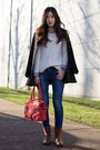 white Gap sweater - dark brown Frye boots - black Zara coat - navy Levis jeans