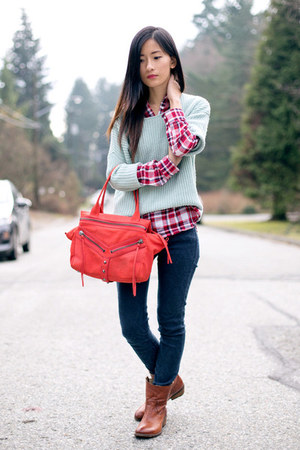 hot pink Mango shirt - brown Frye boots - light blue Forever 21 sweater