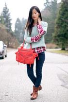 hot pink Mango shirt - brown Frye boots - light blue Forever 21 sweater